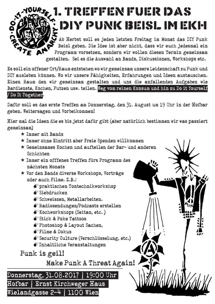 1. Treffen für das neue DIY Punk Beisl im EKH @hofbar | ekh