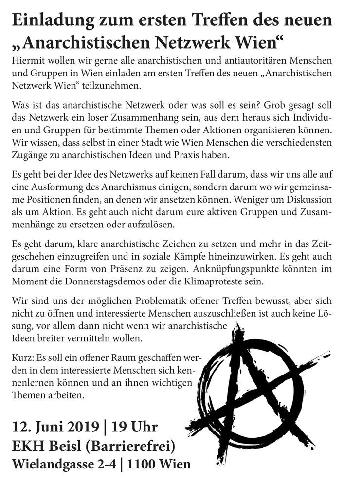 """Erstes Treffen des neuen """"Anarchistischen Netzwerk Wien"""" @ekh"""