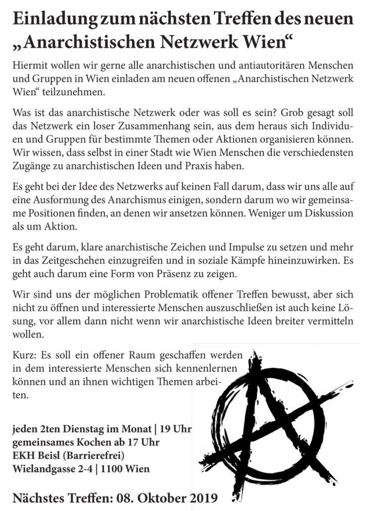Offenes Treffen des Anarchistischen Netzwerks Wien @ekh