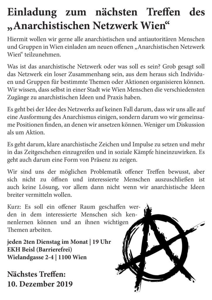 """Treffen des """"Anarchistischen Netzwerk Wien"""" @ekh"""